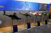 Model helicopters on display, Agusta Westland stand. Defence Systems and Equipment International Exhibition, Excel, Docklands - Paul Mattsson - 09-09-2003