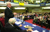 Protest rally in Westminster Central Hall calling for an increase in the State Pension. Organised by the National Pensioners Convention. Rodney Bickerstaffe, former UNISON General Secretary and NPC Pr... - Paul Mattsson - 11-11-2002