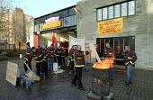 FBU Firefighters National Pay Strike. Homerton Fire Station, Hackney, East London. 9am Walkout on First Day of Eight Day Strike - Paul Mattsson - 22-11-2002
