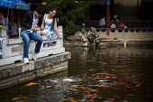 Young couple feeding goldfish, fish watching pavilion, Cuihu Park, Kunming, Yunnan Province, China. - Connor Matheson - 10-09-2015