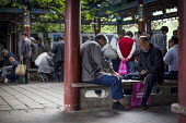 Elderly people gambling and playing games of draughts, Cuihu Park, Kunming, Yunnan Province, China. - Connor Matheson - 2010s,2015,age,ageing population,china,Chinese,cities,City,Cui Hu Park,elderly,game,games,Green Lake Park,hobbies,hobby,hobbyist,Leisure,LFL,LIFE,male,man,men,old,outdoors,Park,parks,Pavilion,PENSION,