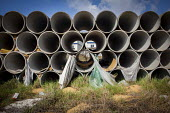 Pipes where refugees have been rough sleeping outside the Hal Far Refugee Camp, Malta. - Connor Matheson - 10-08-2015