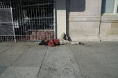 Homeless on the Street, Berkeley, California - David Bacon - , American,2010s,2015,African American,African Americans,America,American,americans,asleep,BAME,BAMEs,black,BME,bmes,California,cities,City,diversity,EQUALITY,ethnic,ethnicity,excluded,exclusion,exhau