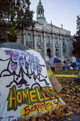 California, protest camp against anti homeless legislation outside the old City Hall, Berkeley, First They Came for the Homeless - David Bacon - 24-11-2015
