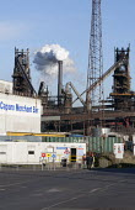 Scunthorpe Steelworks, Tata Steel Ltd, North Lincolnshire. Caparo Merchant Bar - John Harris - 2010s,2015,Blast furnace,British,C02 Emissions,capitalism,capitalist,chimney chimneys,EBF Economy,eni,environment,environmental,FACTORIES,factory,FOUNDRIES,FOUNDRY,furnace,FURNACES,Industries,INDUSTRY