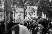 Women's Liberation march, London, Equal pay of women, End discrimination against women in education - Martin Mayer - ,1970s,1971,activist,activists,against,CAMPAIGN,campaigner,campaigners,CAMPAIGNING,CAMPAIGNS,DEMONSTRATING,demonstration,DEMONSTRATIONS,discrimination,education,Equal,equal pay,equal rights,equality,F