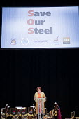 Frances O'Grady, TUC Gen Sec speaking Save Our Steel Rally, Sheffield City Hall, Yorkshire - Mark Pinder - 21-11-2015