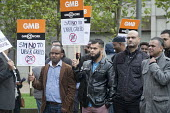 GMB London Uber drivers protest at increased commission rates and price cuts outside Uber London HQ. - Philip Wolmuth - 2010s,2015,activist,activists,app,Asian,Asians,BAME,BAMEs,Black,BME,BME black,bmes,CAMPAIGN,campaigner,campaigners,CAMPAIGNING,CAMPAIGNS,casual,conditions,cuts,DEMONSTRATING,DEMONSTRATION,DEMONSTRATIO
