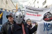 "BBC Love It or Lose It Campaign. Fans of BBC TV programme Dr Who protest in support of the BBC outside Broadcasting House. A ""Cyberman"" joins the protest. - Stefano Cagnoni - 23-11-2015"