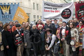 BBC Love It or Lose It Campaign. Fans of BBC TV programme Dr Who protest in support of the BBC outside Broadcasting House. Ex-Time Lord, Peter Davison (above man with hat) joins the protestors, along... - Stefano Cagnoni - 23-11-2015