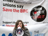 BBC Love It or Lose It Campaign. Fans of BBC TV programme Dr Who protest in support of the BBC outside Broadcasting House, London. Sophie Aldred an actor in the long running tv show, speaking to the p... - Stefano Cagnoni - 23-11-2015