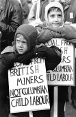 Coal from British miners not Colombian child labor, sons of miners protest against pit closures outside the home of John Major, Huntingdon 1992 - John Harris - 19-12-1992