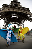 Climate change superheroes, Eiffel Tower, Red Lines climate change protests COP21 Climate Summit. Paris. Wind, Solar - Jess Hurd - 12-12-2015