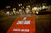 Globalise Risistance Truth Trijektor projections outside the WTO building, System change not climate change, protests COP21 Climate Summit. Paris France - Jess Hurd - 12-12-2015