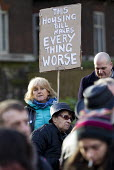 Council housing activists protest against the Housing Bill. Westminster. London. This Housing bill will make everything worse - Jess Hurd - 05-01-2016