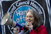 Eileen Short speaking, Defend Council Housing. Protest against the Housing Bill. Westminster. London. - Jess Hurd - 05-01-2016