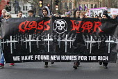 Class War. Council housing activists protest against the Housing Bill. Westminster. London. We have found new homes for the rich - Jess Hurd - 2010s,2016,ACTIVIST,activists,against,Anarchism,Anarchist,Anarchists,banner,banners,CAMPAIGN,campaigner,campaigners,CAMPAIGNING,CAMPAIGNS,class war,Council,Council Housing,Council Housing,Defend Counc