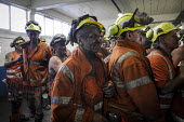 Miners coming off the last shift in the lamp room. Closure of the last British deep coal mine, Kellingley Colliery.Last ever shift ending, Yorkshire - Mark Pinder - 18-12-2015
