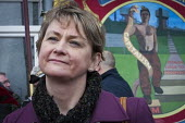 Yvette Cooper, local MP. Protest by miners and supporters the day after Kellingley colliery closed down, West Yorkshire. - Mark Pinder - 19-12-2015