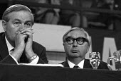 Jim Callaghan and George Brown, Labour Party Conference 1969 - NLA - 1960s,1969,Conference,conferences,George Brown,Jim Callaghan,Labour Party,Labour Party Conference,male,man,men,MP,MPs,Party,people,person,persons,POL,political,politician,politicians,Politics