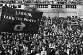Labour Take the power! CND Easter march and rally at Trafalgar Square London April 1969. - NLA - 1960s,1969,activist,activists,anti war,Antiwar,banner,banners,CAMPAIGN,Campaign for nuclear disarmament,campaigner,campaigners,CAMPAIGNING,CAMPAIGNS,CND,DEMONSTRATING,Demonstration,DEMONSTRATIONS,Labo