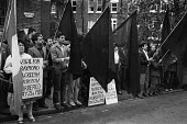 Sinn Fein protest outside the Hampstead home of Labour Party leader Michael Foot during hunger strike by H Block republican prisoners in Northern Ireland, London 1981 - Philip Wolmuth - 1980s,1981,activist,activists,against,CAMPAIGN,campaigner,campaigners,CAMPAIGNING,CAMPAIGNS,DEMONSTRATING,demonstration,DEMONSTRATIONS,disputes,FEMALE,flag,flags,H Block,home,hunger,hunger strike,hung