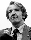 Dennis Skinner MP speaking 1985 Durham Miners Gala. - Stefano Cagnoni - 1980s,1985,County Durham,Dennis Skinner,Durham Miners Gala,Labour Party,Left,left wing,Leftwing,member,member members,members,MINER,Miners,MINER'S,MP,MPs,NUM,people,POL,political,politician,politician