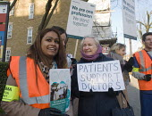 Junior Doctors national 1 day strike over employment contracts. Junior Doctors joined by a supportive patient on the picket line at the Whittington Hospital, north London. - Stefano Cagnoni - 12-01-2016