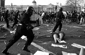 Poll Tax riot Trafalgar Square London 1990 Police charge protest - Paul Mattsson - 1990,1990s,activist,activists,adult,adults,CAMPAIGN,campaigner,campaigners,CAMPAIGNING,CAMPAIGNS,CLJ,conflict,Conflicts,DEMONSTRATING,Demonstration,DEMONSTRATIONS,force,London,MATURE,metropolitan poli
