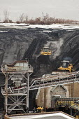Michigan, Consumers Energy B.C. Cobb coal fired power station. Bulldozers push coal onto a conveyor - Jim West - 09-01-2016