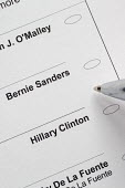 Detroit, voter choosing between Bernie Sanders and Hillary Clinton on an absentee ballot, Michigan Democratic Party primary election - Jim West - 21-01-2016