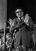 Labour MP Eric Heffer speaking at a Labour Party Special conference on EEC membership (later European Union) With him on the platform Peter Shore MP - Martin Mayer - 25-04-1975