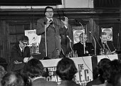 Labour MP Eric Heffer speaking at a Labour Party Special conference on EEC membership (later European Union) With him on the platform (L-R) Peter Shore MP, TGWU General Secretary Jack Jones and and To... - Martin Mayer - EEC,1970s,1975,against,anti,campaign,campaigning,CAMPAIGNS,Common Market,conference,conferences,EEC,Eric Heffer,EU,European Union,europeregi,Jack Jones,Labour Party,Left,left wing,Leftwing,meeting,MEE