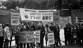 Trades unions protest against the EEC outside a Labour Party Special conference on EEC membership (later European Union), Central Hall, London. A one-day conference held by the Labour Party to debate... - Peter Arkell - , EEC,1970s,1975,activist,activists,against,anti,banner,banners,campaign,campaigner,campaigners,campaigning,CAMPAIGNS,Common Market,communities,Community,conference,conferences,DEMONSTRATING,demonstra