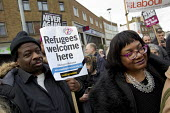 Weyman Bennett and Diane Abbott MP Kent Anti Racism Network protest against National Front anti refugee protest Dover - Jess Hurd - 30-01-2016
