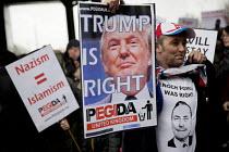 Donald Trump is Right. Pegida protest near Birmingham International, West Midlands. Enoch Powell was right t shirt - Jess Hurd - 06-02-2016