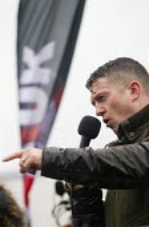 Tommy Robinson speaking Pegida protest near Birmingham International, West Midlands. - Jess Hurd - 06-02-2016