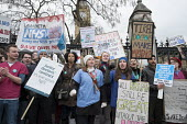 Junior doctors strike over proposed new contract cross Westminster Bridge to protest outside the Houses of Parliament. - Philip Wolmuth - 10-02-2016