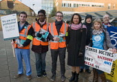 Junior Doctors national 1 day strike over employment contracts. Catherine West, with pnk scarf, Labour MP for Hornsey and Wood Green, supporting, Junior Doctors on the picket line at the Whittington H... - Stefano Cagnoni - 12-01-2016