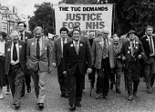 Len Murray TUC, Frank Chapple EEPTU and Michael Foot, TUC Day of Action, heath workers pay claim, London 1982. Justice For the NHS Workers - John Harris - 22-09-1982
