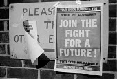 1983 NUM poster for a Yes vote in national ballot for strike action over closure of Lewis Merthyr pit, Dinnington colliery Yorkshire - John Harris - 1980s,1983,campaign,campaigning,CAMPAIGNS,capitalism,capitalist,CLOSED,closing,closure,closures,Coal Industry,Coal Mine,coalindustry,collieries,colliery,deindustrialisation,Deindustrialization,democra