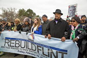 Flint, Michigan Rev. Jesse Jackson and Flint Michigan Residents marching to demand the rebuilding of the City water infrastructure - Jim West - 19-02-2016