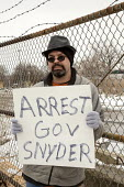 Flint Michigan Residents marching to demand the rebuilding of the City water infrastructure. Arrest Gov Snyder - Jim West - 19-02-2016