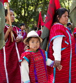 Oaxaca, Mexico Triqui ethnic group protest their displacement from their homes and the violence that prevades the area of western Oaxaca where they live. Many Triquis have been forced through poverty... - Jim West - 02-02-2016