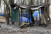 Burnt out tent, Squalid conditions, Grande-Synthe refugee camp Dunkirk, France. - Jess Hurd - 21-02-2016