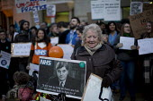 June Hautot with a picture of Nye Bevan quote: It will last as long as their are folk left with the faith to fight for it. BMA junior doctors protest outside the Department of Health against the impos... - Jess Hurd - 12-02-2016