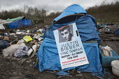 Squalid conditions in the Grande-Synthe refugee camp. Dunkirk, France. Justin Bieber festiveal concert poster - Jess Hurd - 24-02-2016