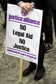 Rally organised by the Justice Alliance in opposition to the government cuts to legal aid and access to justice. Old Bailey, City of London. - Jess Hurd - 30-07-2013