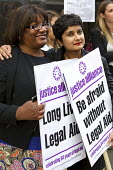 Diane Abbott MP with Shami Chakrabarti, Liberty. Rally organised by the Justice Alliance in opposition to the government attack on legal aid and access to justice. Old Bailey, City of London. - Jess Hurd - 30-07-2013
