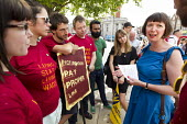 Frances O'Grady TUC Gen Sec visiting Ritzy workers picket line, BECTU strike over London Living Wage. Brixton, South London - Jess Hurd - 21-06-2014